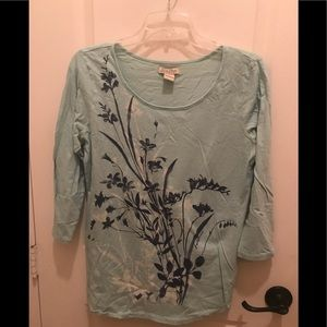 Lucky Teal Print 3/4 sleeve T-shirt